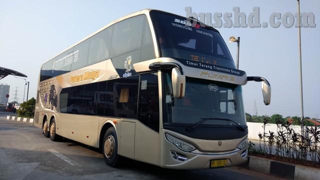 Tampak Depan Bus Double Decker Putera Mulya